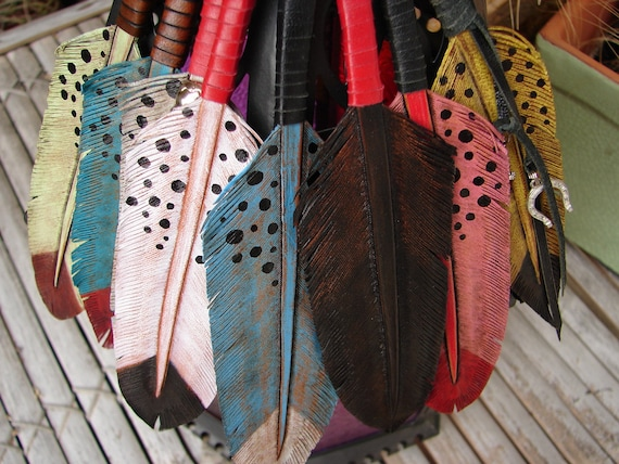 Hand Carved Leather feather keychains, key fobs,bag charms talisman & all around good luck charm :)