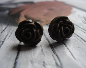 Chocolate  Brown Rose Cabochon    Polymer Clay   Post Earrings Set On Quality Sterling Silver Post  Size 10-11mm