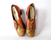 Vintage 60s Shoes . Size 8 . Burnt Umber, Brown, and Tan Color Block Leather Shoes . - GinnyandHarriot