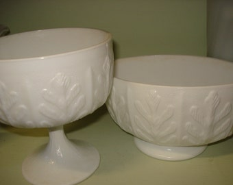 Pair White Milk Glass compotes for Succulents
