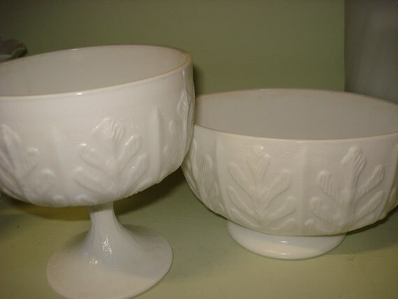 Vintage Pair Leaf Decorated Milk Glass compotes Footed Bowls White Wedding or Decor