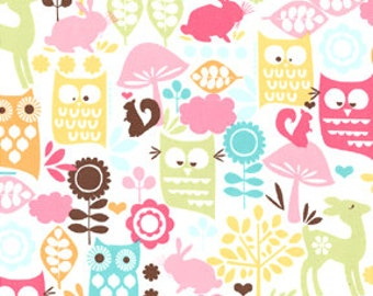 FOREST LIFE Michael Miller fabric by the 1/2 yard cotton owls, deer, squirrels, rabbit