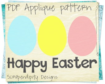Easter Applique Template - Egg Applique Pattern / DIY Happy Easter Shirt / Easter Quilt Pattern / Kids Girls Clothing Tops AP190-D