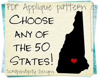 State Applique Template - New Hampshire Applique Pattern / Texas Shirt / AZ Adult Shirt / Florida Outline Quilt / VA Iron on Transfer