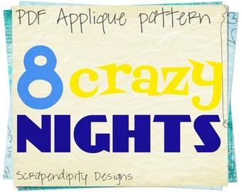 Hanukkah Applique Pattern - Chanukah Applique Template / Hanukkah Shirt Applique / Holiday Clothing Applique / Kids Shirt Design AP140-D