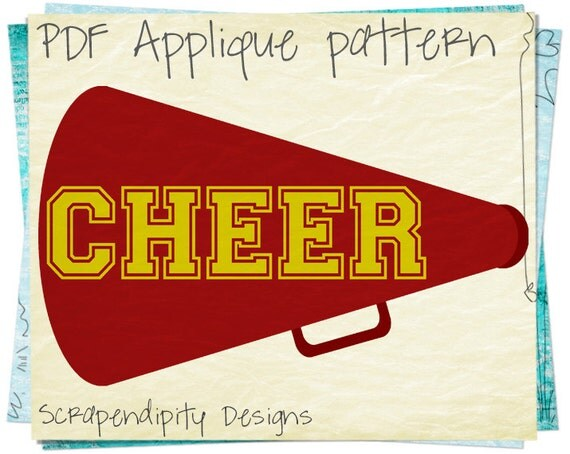 Cheerleading Applique Pattern - Cheer Applique Template / Girls Cheer Megaphone / Kids Girls Clothes / Teen Wall Hanging / Quilt AP221-D