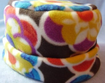 Children's fleece pillbox hat - modern floral on brown - medium