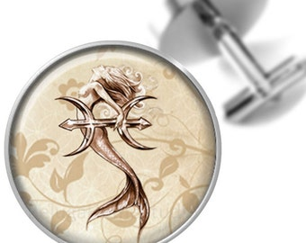 Cufflinks Sepia Mermaid with Trident Handmade Cuff Links