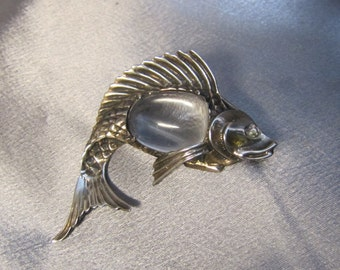 Rare 1940's Sterling Jelly Belly Fish Pin