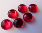 6 glass cabochons, Ø10mm, siam red, round