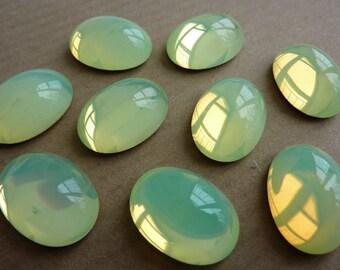 2 glass cabochons, 18x13mm, citrus-opal, oval