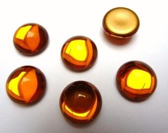 6 glass cabochons, Ø12mm, topaz, round