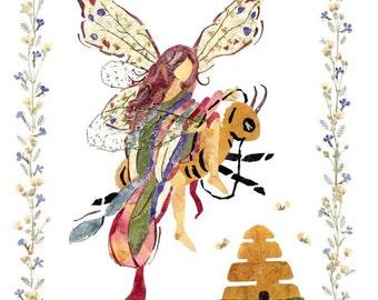 Queen Bee - Flower Fantasy Fairy Art  - 8 x 10 Fine Art Giclee Print - Magical Blossoms