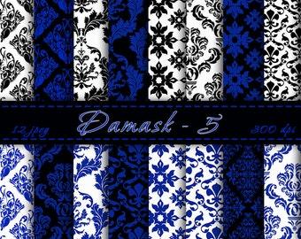 Damask Digital Backgrounds - Damask Digital Scrapbook Papers, Digital Paper Pack, Damask and Floral Patterns