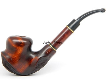 """Tobacco Smoking Pipe """"Voodoo"""" Carved of Pear wood, Great Collectible  plus GIFT Pouch"""
