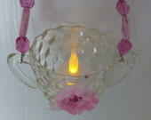 Lovely Hanging Votive, Pink Glass Beads And Flower