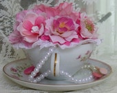 Teacup Flower Arrangement, Lovely Pinks And Whites