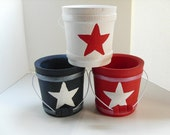Red, White & Blue Wood Buckets, stars and stripes, patriotic, 4th of July, summer decor, set of 3 - DabHands
