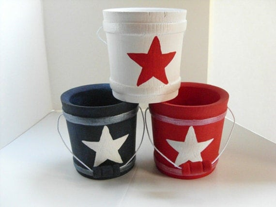 Items similar to red white blue wood buckets stars and Stars and stripes home decor
