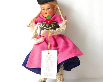 Toy Doll, vintage Petrasch and Rosenhauer,  Pig Tailed Doll, vintage Austrian doll, doll in native dress, FREE SHIPPING