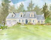 House Watercolor Painting Inspired by Digital Photos