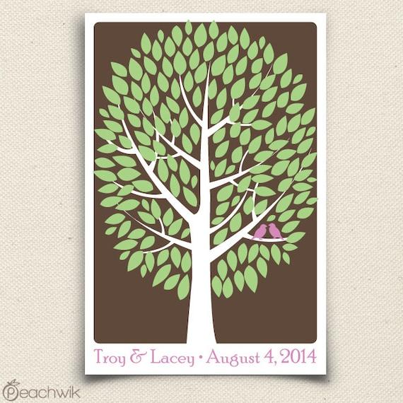 Wedding Tree Guest Book - The Modwik - A Peachwik Interactive Art Print - 150 guest sign in - Modern Tree Guestbook Alternative
