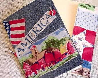 Patriotic Collage Card, America Farmland Denim Everyday Greeting Blank Note Card, Upcycled Fabric Stationery itsyourcountry