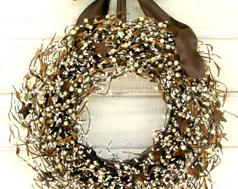 Rustic Wreath-Farmhouse Wreath-Summer Wreath-Fall Wreath-Rustic Farmhouse-Country Rustic Door Wreath-Wreaths-Housewarming Gift-Home Decor