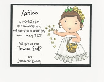BRUNETTE Ashlee- Will you be my Flower Girl Flat card - Personalized custom
