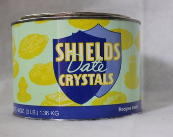 Vintage Yellow Date Crystals Tin Made in USA
