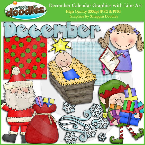 December Calendar Art : December calendar clip art with line download