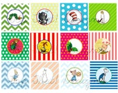 Children's Book Themed Baby Shower Cupcake Toppers- Collection Featured on HWTM Blog INSTANT DOWNLOAD