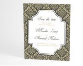 Vintage Inspired Save The Date Cards with Chic Damask Frame, Inspired by Damask, a Pattern Woven into Fabric. Classy and Elegant Choice - ALookOfLove