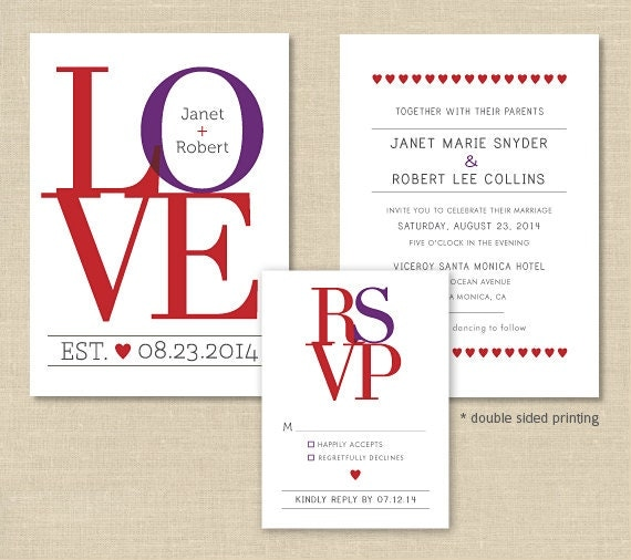 LOVE Wedding Invitation Set Double Sided Modern By