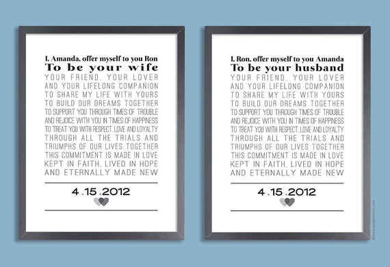 Wedding Vows Gift: Custom Wedding Vows Set Of Two Prints Personalized Print