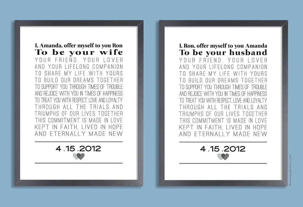 Custom Wedding Vows Set Of Two Prints Personalized Print