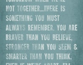 Always Remember A.A Milne Quote - 16 x 20 inspirational art print