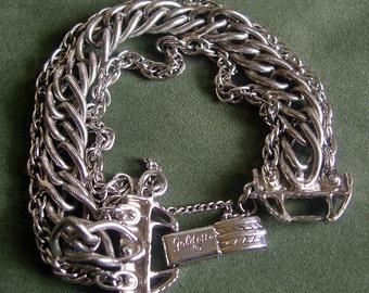 Vintage Goldette Triple Chain Bracelet Silver Tone