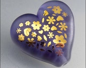 Purple and Gold Heart Glass Bead Lampwork Pendant Large Floral Focal Handmade Jewelry Supplies - by Stephanie Gough sra fhfteam leteam - beadsbystephanie