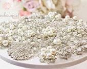 Brooches For DIY Bridal Bouquet Rhinestone & Pearl Brooches