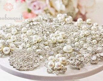 Brooches For DIY Bridal Bouquet Rhinestone & Pearl Brooches