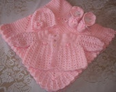 Pink Crochet Baby Girl Sweater Set Layette Perfect For Baby Shower Gift or Take Me Home outfit