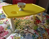 Reserved for susan Yellow Blisscraft of Hollywood Folding TRAY with scalloped edge and cup holder spot serving retro style