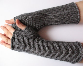 "Fingerless Gloves Long Dark Gray Long Fingerless Gloves Gray 14"" Arm Warmers Mittens Soft Acrylic Wool"