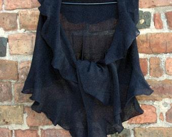 Black Linen Scarf Shawl Wrap Stole, Light