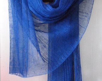 Linen Scarf Shawl Wrap Stole dark blue Multicolored Light