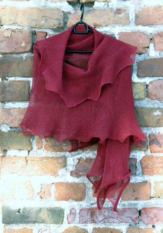 Burgundy Linen Scarf Shawl Wrap Stole claret raspberry, Light