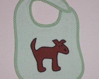 Dog Toddler Bib - Dog Applique Green Terrycloth Toddler Bib