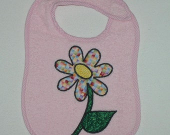 Flower Toddler Bib - Flower Applique Pink Terrycloth Toddler Bib