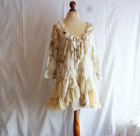 Mori Girl Hand-Dyed Tea Ivory Dress Tunic Size L Blouse Upcycled Woman's Clothing Casual Woman's Dress Funky Eco Upcycled Tunic Eco Friendly